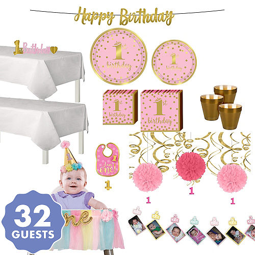 Pink & Gold Premium 1st Birthday Party Supplies - Pink