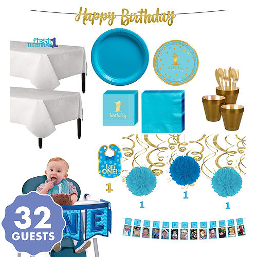 Blue Gold Confetti Premium 1st Birthday Deluxe Party Kit For 32 Guests