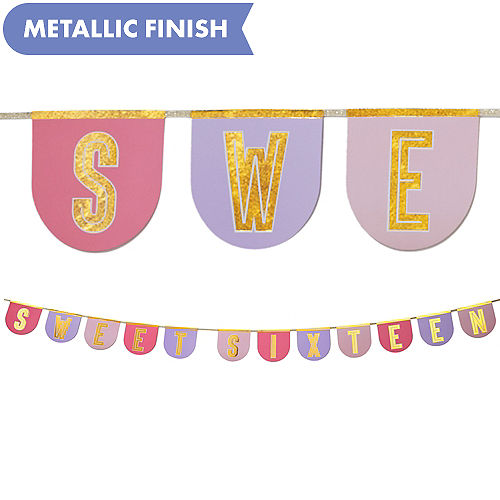 Metallic Gold Sweet Sixteen Pennant Banner