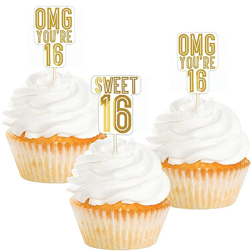 Metallic Gold Sweet 16 Cupcake Picks 16ct
