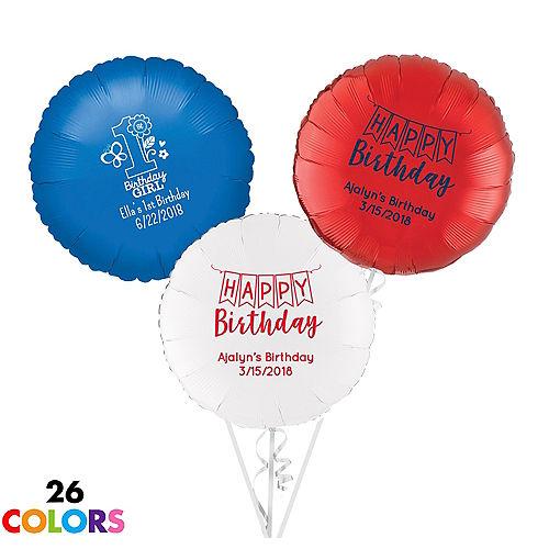 Personalized 1st Birthday Round Balloon