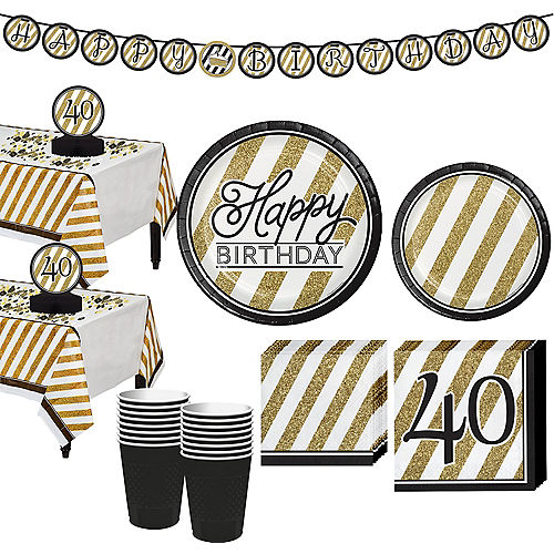 White Gold Striped 40th Birthday Party Kit For 32 Guests