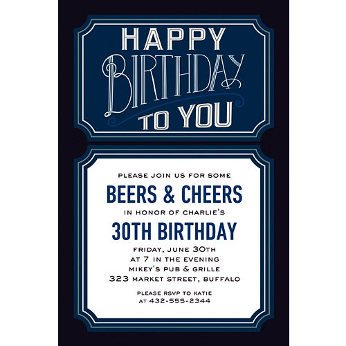 Custom Happy Birthday Man Invitations