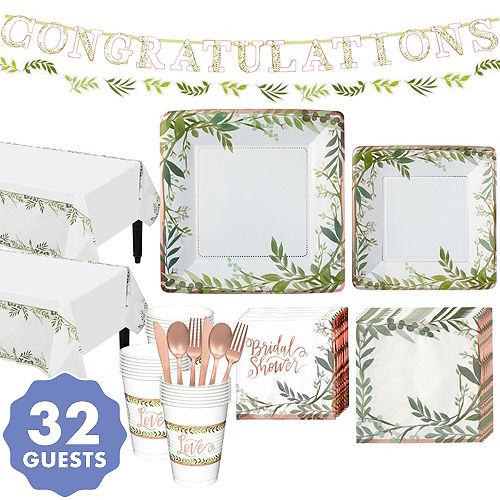 Metallic Floral Greenery Bridal Shower Party Kit for 32 Guests a9ad869c8