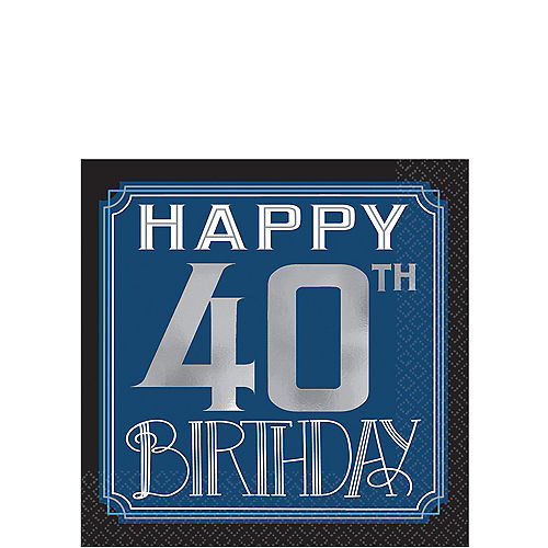 Vintage Happy Birthday 40th Beverage Napkins 16ct