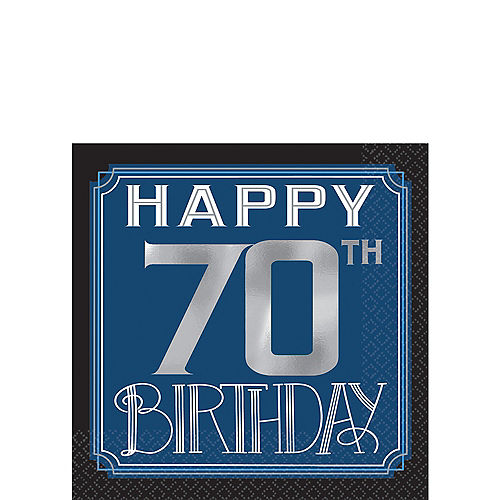 Vintage Happy Birthday 70th Beverage Napkins 16ct