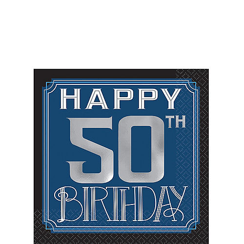 Vintage Happy Birthday 50th Beverage Napkins 16ct
