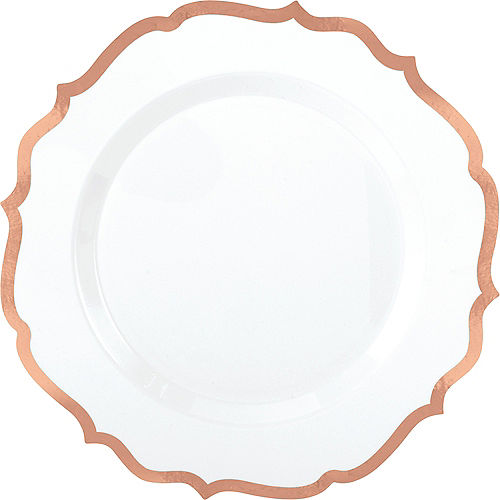 White Rose Gold Premium Tableware Rose Gold Trim Premium Plastic Plates Party City
