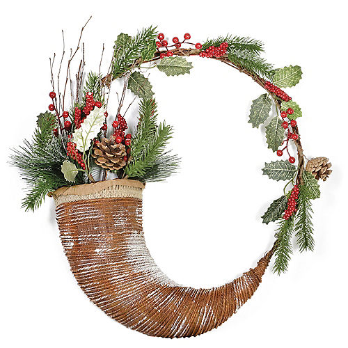 evergreen berries horn wreath