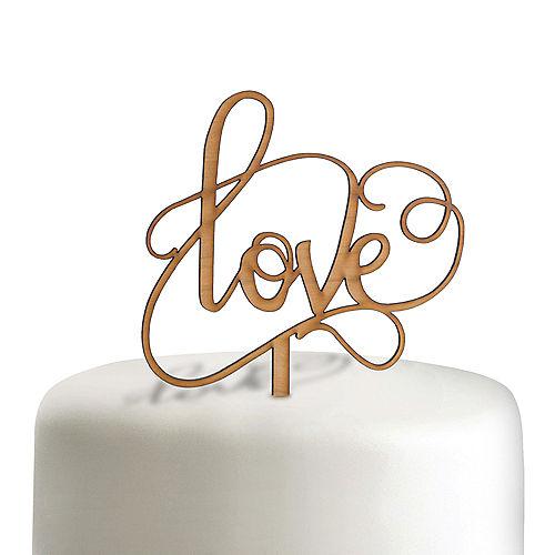 Love Wood Wedding Cake Topper