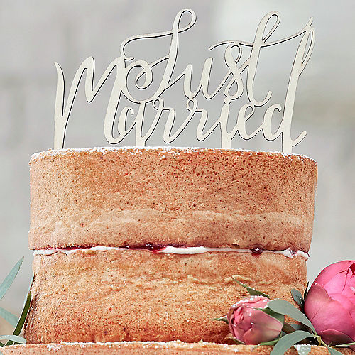Ginger Ray Boho Just Married Wooden Wedding Cake Topper