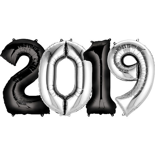 Giant Black Silver 2019 Number Balloon Kit
