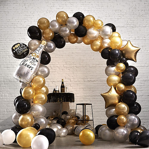 black gold silver new years eve balloon