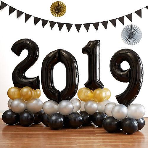 34in Air Filled Black 2019 Graduation Balloon Centerpiece Kit